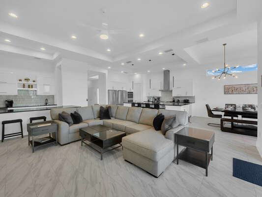 The large open-concept floor plan is great for bringing the whole family together