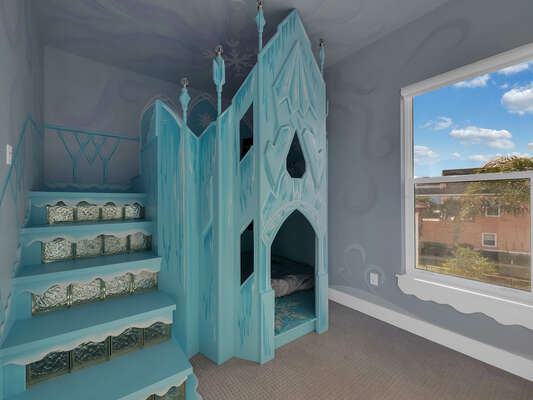 Little princesses will love this ice castle twin/twin bunk bed, each bed featuring a TV and night light.