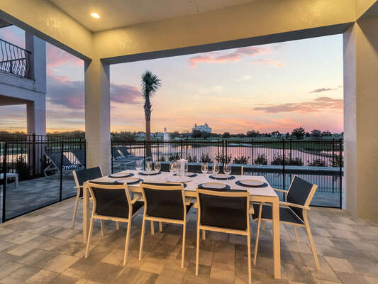 Dine al fresco at the outdoor dining table