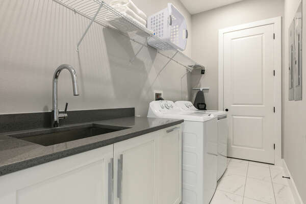 Ground floor laundry room equipped for your convenience