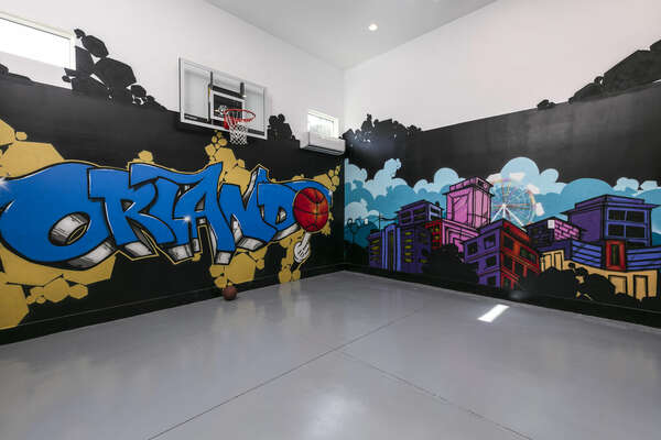 Shoot some hoops in the indoor basketball court