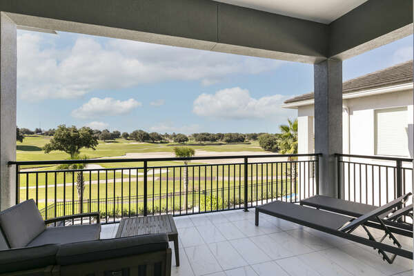 Admire views of the Palmer golf course from the second floor balcony