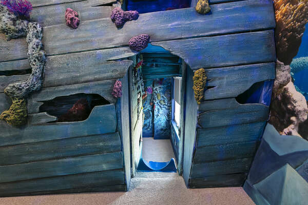 Custom-build bunkbeds even have a slide; the kids wont be able to stop talking about this bedroom!