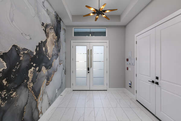 Admire the beautiful marble wall design