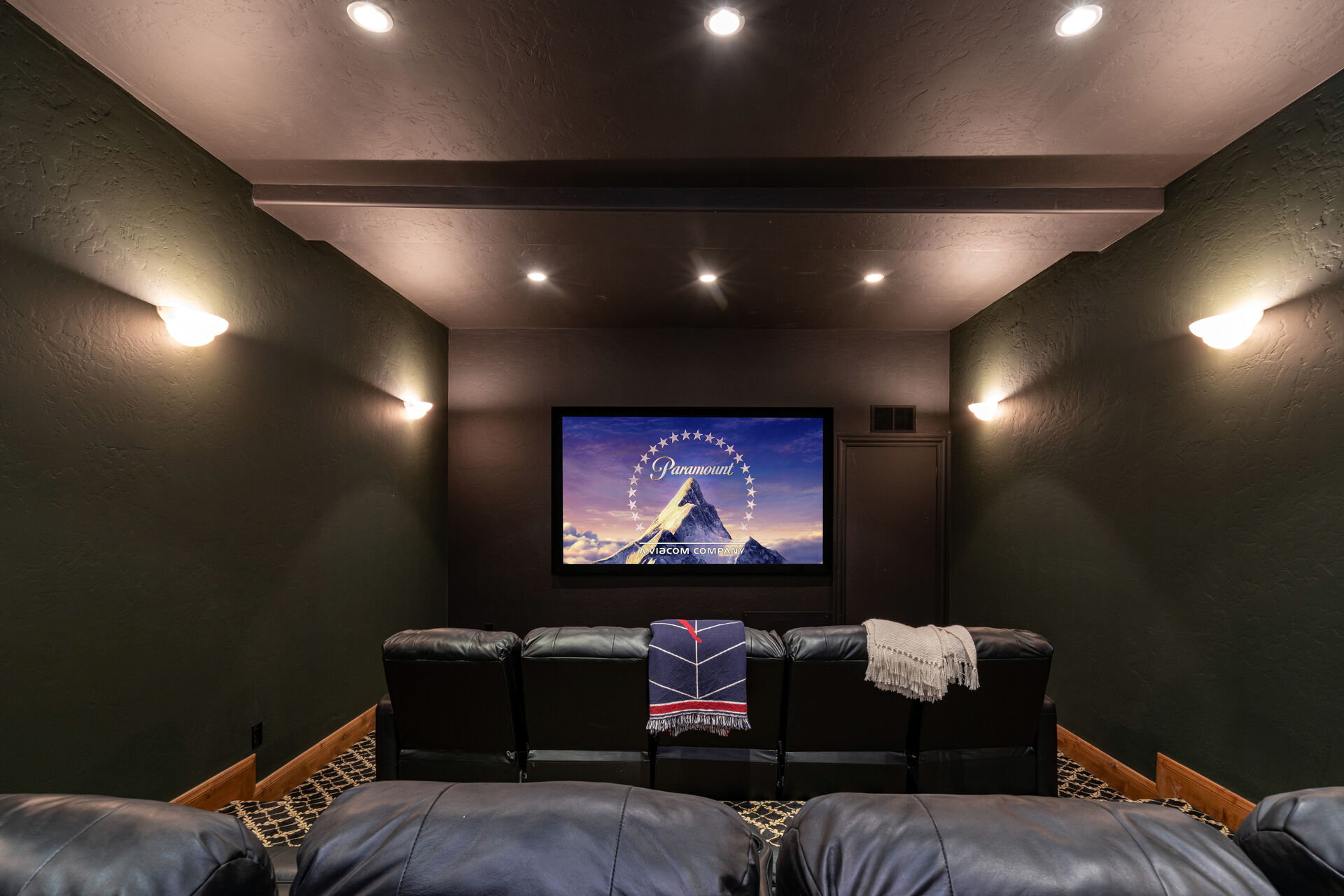 Private theater of this Telluride golf rental.