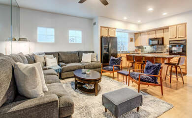 Enjoy the large family room. Equipped with a flatscreen T.V. and fireplace.
