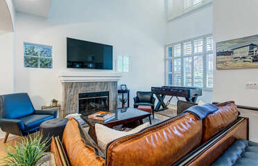 Front Living Area with Fireplace, Flat Screen Smart TV and Foosball table!