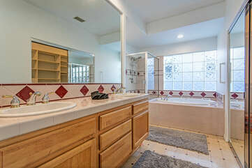 The master bathroom has his and hers sinks.