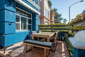 Enjoy a nice meal on the beautiful patio that offers sun when you need it and shade when you don't.