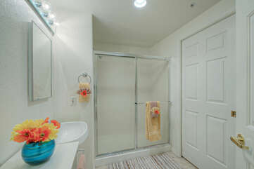 Second bath features a walk-in shower