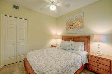 Both bedrooms have closet space and ceiling fans