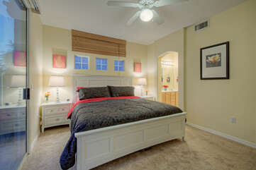 Split bedroom floor plan includes a primary bedroom with a king bed