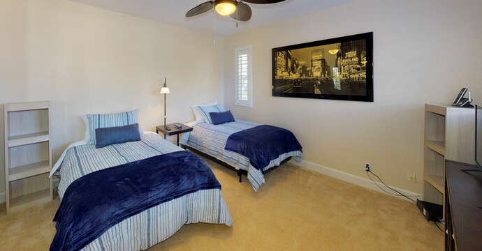 Third Bedroom with Twin Beds, TV & Ceiling Fan