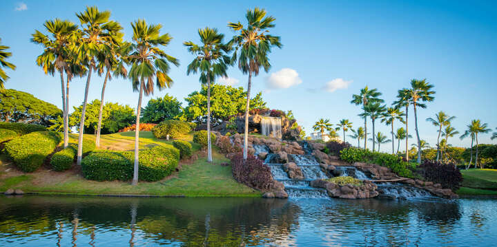Waterfall on Ko Olina's 12th Hole at Entrance to the Resort
