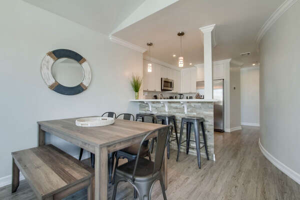 Dining Area and Breakfast Bar in Vacation Rental Home in San Diego.
