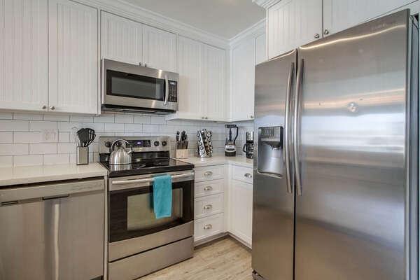 Stainless Steel Appliances in Kitchen.