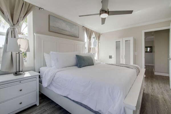 White King Bed in Bedroom.