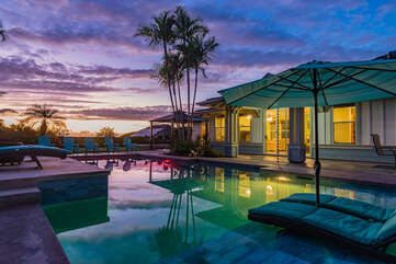 Relax by the private pool at our rental in Kailua Kona