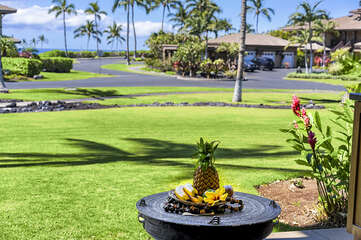 Fresh fruit on a table of the patio of this Halii Kai condo.