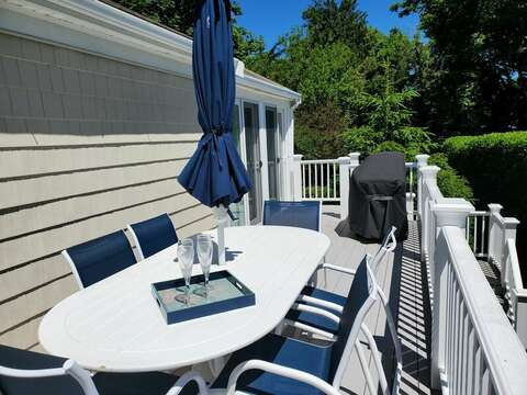 Spacious deck with grill and plenty of seating for outdoor dining - 60 Cornerwood Drive Harwich Cape Cod - New England Vacation Rentals