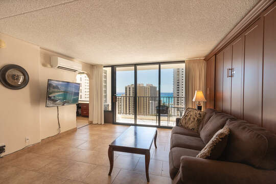 Relax in this beautiful ocean view corner unit, extra room, the kitchen is set aside for more room.