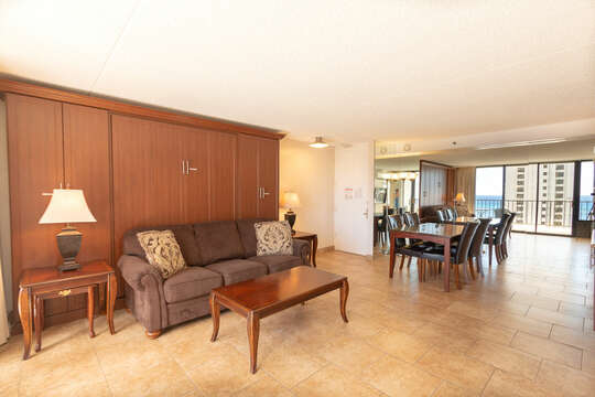 Unit has all tiled floors, and sofa bed.