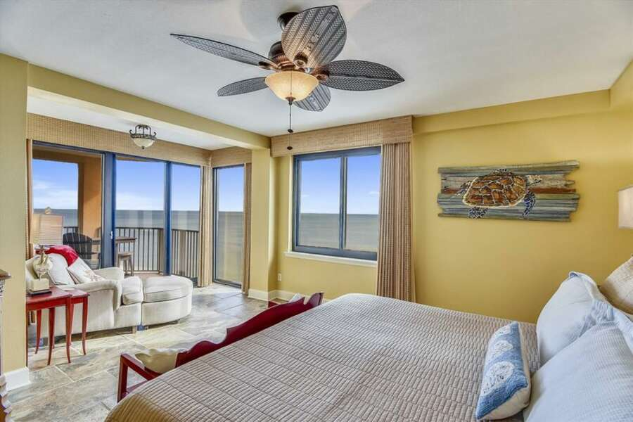 Master Bedroom with a Private Nook looking out to the Gulf