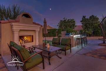 Watch the desert stars by the huge gas fireplace