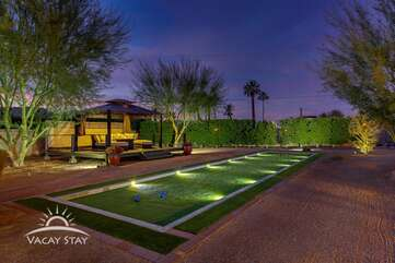Fully lit Bocce Ball court