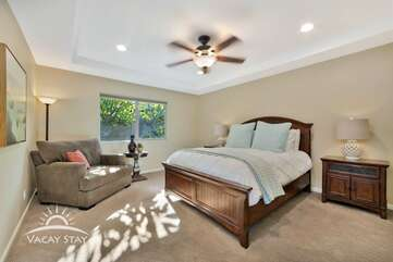 Master bedroom. Queen size bed with oversize reading chair