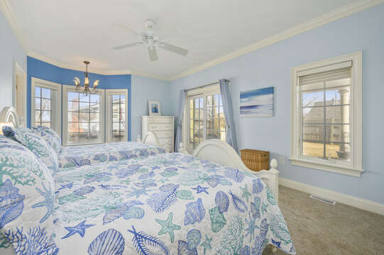 Bedroom #2 with 2 double beds, ceiling fan, dresser and en-suite bathroom with shower-306 Millway Barnstable Cape Cod New England Vacation Rentals