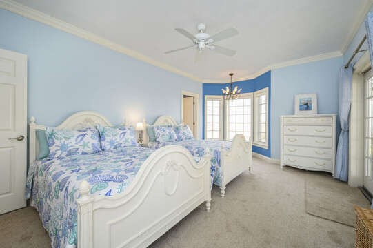 Bedroom #2 with 2 double beds , dresser and en-suite bathroom with shower-306 Millway Barnstable Cape Cod New England Vacation Rentals