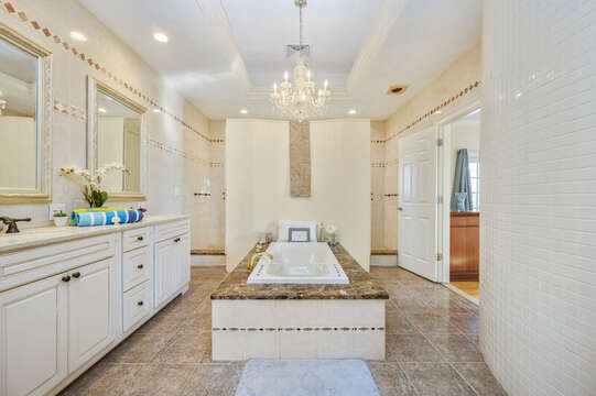 Luxurious jetted tub and double vanities-(dual shower heads too! 306 Millway Barnstable Cape Cod New England Vacation Rentals