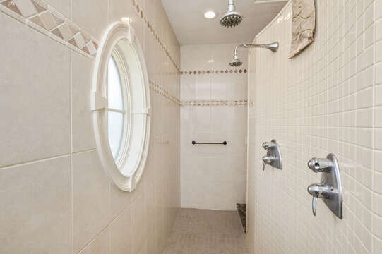 Main bath with walk in with dual shower heads! 306 Millway Barnstable Cape Cod New England Vacation Rentals