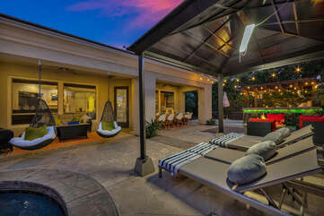 This Vegas style cabana is sure to be the favorite spot for lounging.