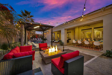 The comfortable patio furniture showcases more sitting room. The perfect place for star gazing.