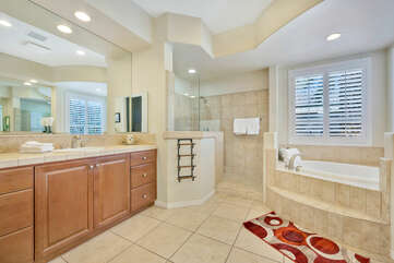 Get ready for a night out in the spacious Master Suite Bathroom.