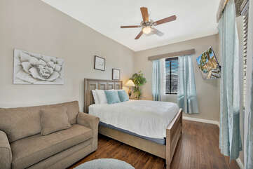 Casita Suite 2 features a Full-sized bed, Twin-Sized Sofa Sleeper and a 55-inch TCL Smart Television.