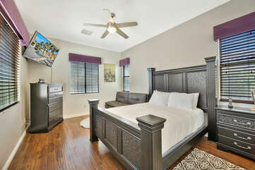 Relax and catch a break from all the fun in Suite 3. It features a Full-sized bed, Twin-sized Convertible Sofa and a 55-inch TCL Smart Television,