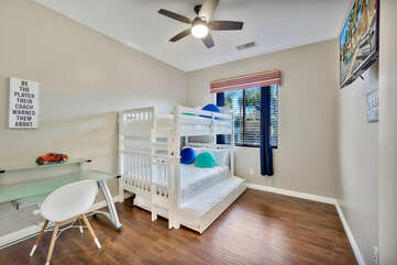 The perfect room for the kids! Bedroom 6 is located next to Bedroom 5 and features a Full-sized Bunk bed with Full-sized trundle, 42-inch Samsung Smart Television, and a ceiling fan to keep you cool.