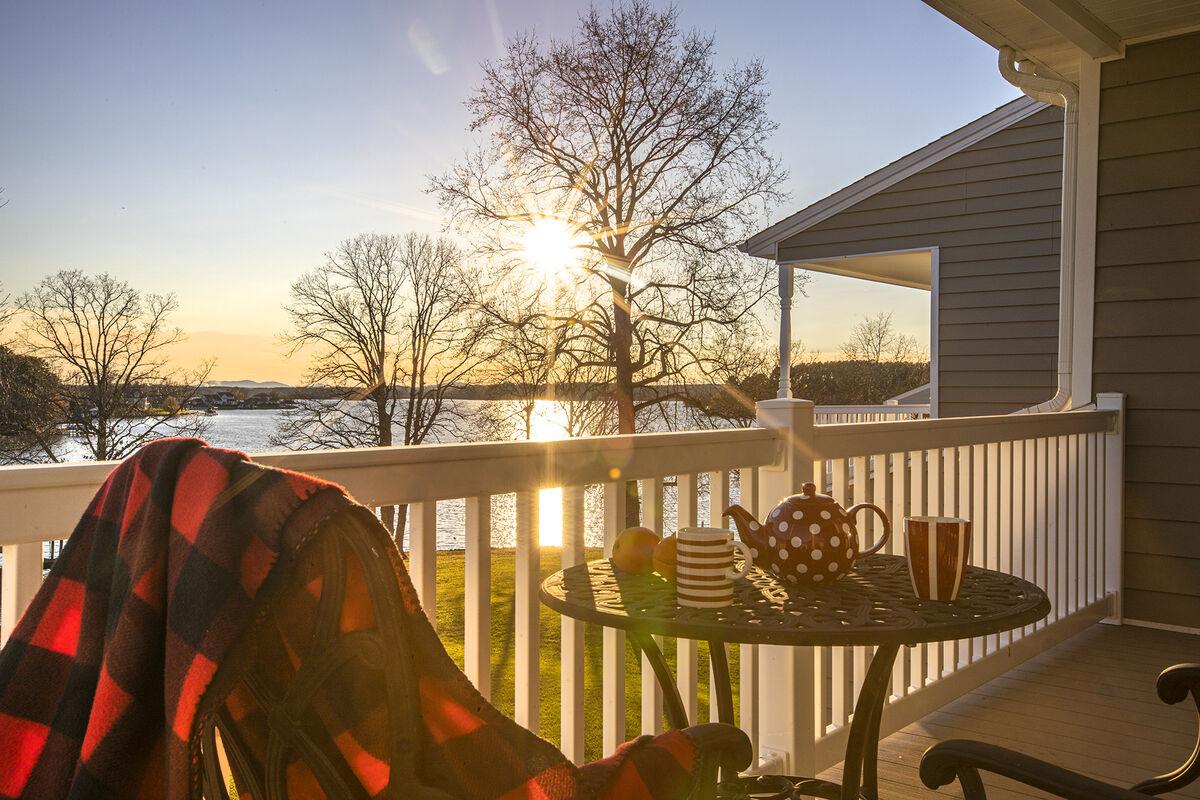 Enjoy Breakfast on the Master Bedroom Balcony Overlooking Smith Mountain Lake