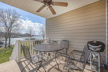 Outdoor seating and grill at this Smith mountain lake townhome rental
