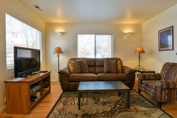 Living Room with Southwestern Designed Couch