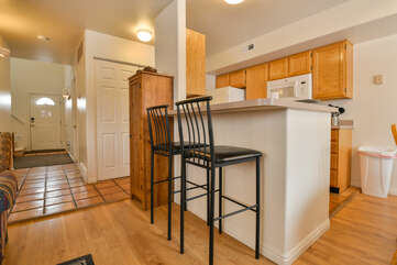 Kitchen with Bar Stools at Moab Best Places to Stay