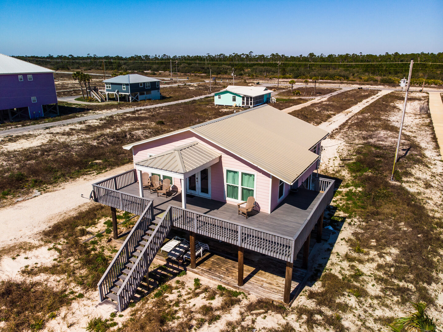 Aerial shot of this Gulf Shores cottage rental
