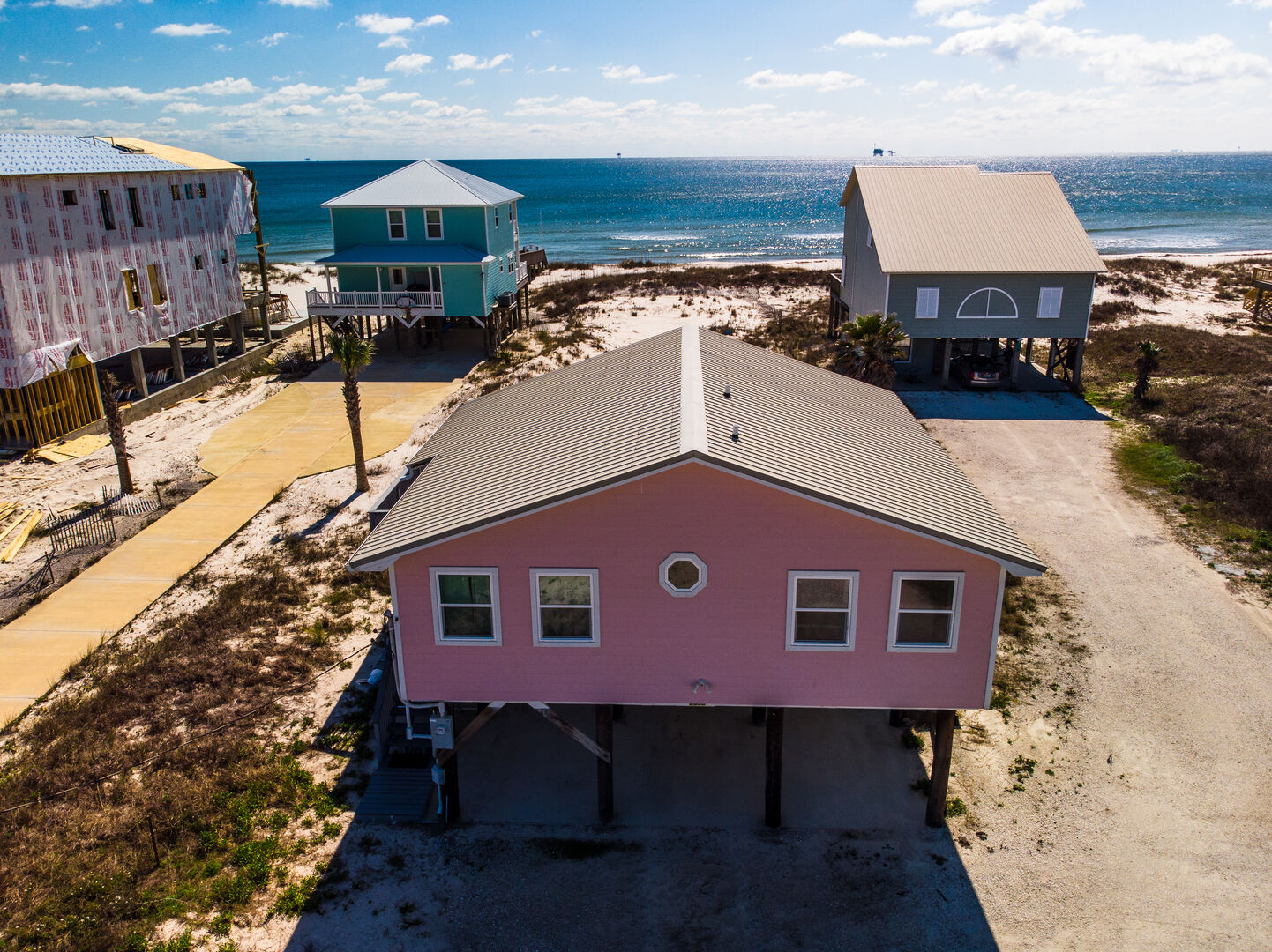 Aerial view of this Gulf Shores cottage rental
