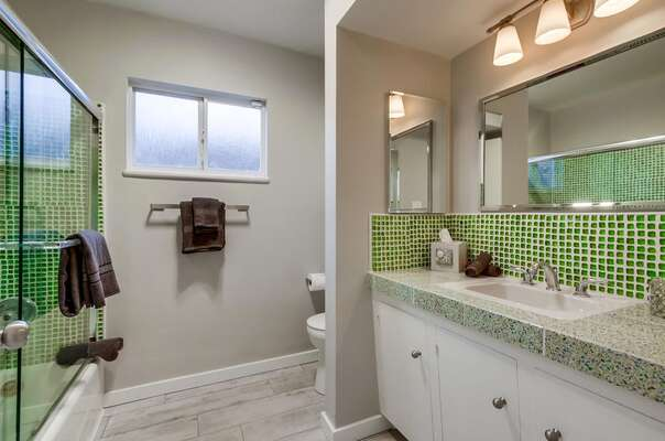 Shower-Tub Combo, Toilet, Mirror, and Single Sink Vanity.