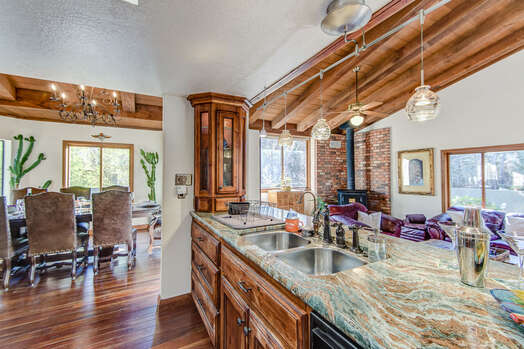 Kitchen and Dining Room with Stunning Hardwood Floors