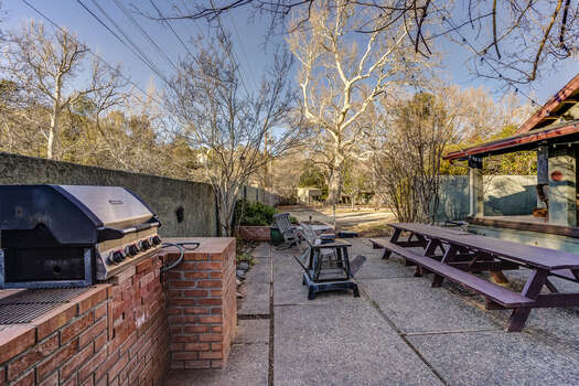 Enjoy the Outdoor Dining Picnic Tables, Gas BBQ and Fire Pit