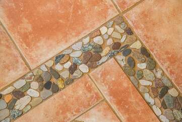 Kitchen tile- hand picked rocks